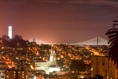 San Francisco downtown at night Royalty Free Stock Image