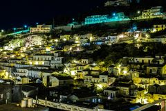 Night view over the village of Modica in the south of Sicily. royalty free stock image