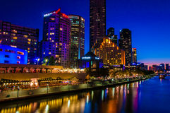 Night view over Yarra River and City Skyscrapers in Melbourne, Australia. Melbourne, Australia - February 20, 2015: Night view over Yarra River and City Royalty Free Stock Photos