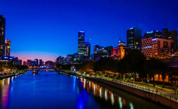 Night view over Yarra River and City Skyscrapers in Melbourne, Australia. Melbourne, Australia - February 20, 2015: Night view over Yarra River and City Stock Photography