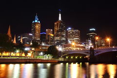 Night View over Yarra River Royalty Free Stock Photos
