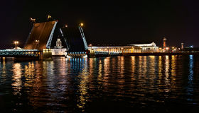Night view of Palace Bridge in Saint-Petersburg Stock Photos