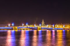 Night view on Palace Bridge in Saint-Petersburg Royalty Free Stock Photography