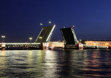 Night view of Palace Bridge. St Petersburg Stock Photo