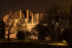 Night view of Palace of the Duques of Braganca. GUIMARAES, PORTUGAL - CIRCA APRIL 2018: Night view of Palace of the Duques of Braganca, Guimaraes, Portugal stock photography
