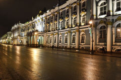 Night view of Palace Embankment stock photography