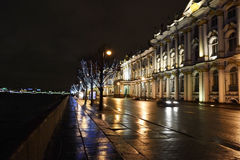 Night view of Palace Embankment in St.Petersburg Stock Images