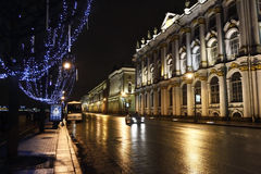 Night view of Palace Embankment in St.Petersburg Royalty Free Stock Photography
