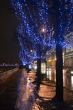Night view of Palace Embankment. Stock Images