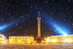 Night view in the Palace Square in St. Petersburg, Russia Royalty Free Stock Images