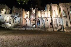 Night view of Palais des Papes, Avignon, France royalty free stock image