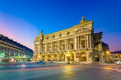 Night view of the Palais Garnier, Opera in Paris. He Palais Garnier is a 1,979-seat opera house, which was built from 1861 to 1875 for the Paris Opera royalty free stock photo