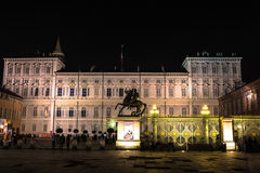 Night view of the Palazzo Reale in Turin, Italy Royalty Free Stock Image