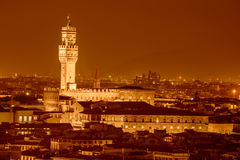 Night view of Palazzo Vecchio Royalty Free Stock Photography