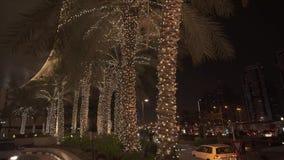 Night view of a palm tree backlit near Dubai Marina Mall stock footage video. Dubai, UAE - April 02, 2018: Night view of a palm tree backlit near Dubai Marina stock footage