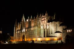 Night view of Palma de Mallorca Cathedral, La Seu, from Parc de la Mar. Palma, Majorca. Spain Stock Image