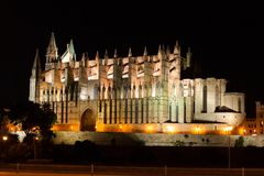 Night view of Palma de Mallorca Cathedral, La Seu, from the port. Palma, Majorca. Spain Royalty Free Stock Photography