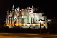 Night view of Palma de Mallorca Cathedral, La Seu, from the port. Palma, Majorca. Spain Stock Images