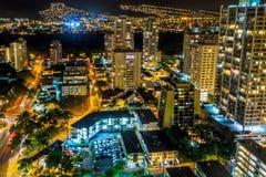 Night view of the Palolo region, Waikiki, Honolulu, Hawaii, USA Royalty Free Stock Photo