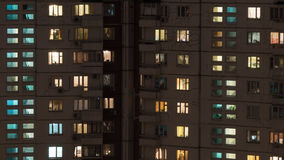 Night view of panel multistorey house royalty free stock photos