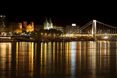 Night view of panorama Budapest, Hungary Royalty Free Stock Images