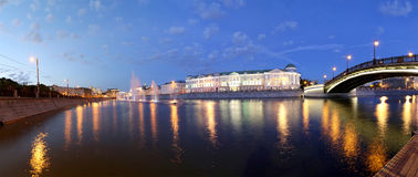 Night view (panorama ) on the drain channel, Moscow, Russia Stock Photography