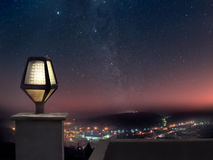 Night view. Panoramic view of mountain town at night Royalty Free Stock Image