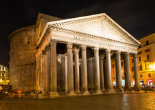 Night view of Pantheon in Rome Royalty Free Stock Images