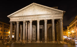 Night view of Pantheon in Rome Stock Photo