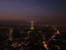 Night View of Paris. France in the summer from Montparnasse Stock Photography