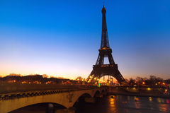 Night view of Paris. Night view of bridge over Seine river and Eiffel tower, Paris, France Royalty Free Stock Photography