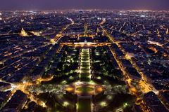 Night view of Paris from the Eiffel Tower Stock Images