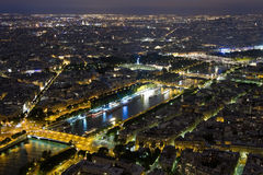 Night view from Paris. Night view from the heights of Paris and the Seine River Stock Image
