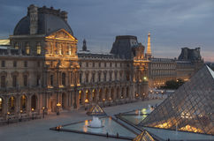 Night view of Paris landmarks Royalty Free Stock Images