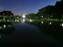 Night view in the park. Royalty Free Stock Photo