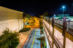 Night view from a parking garage in Columbia, Maryland. Royalty Free Stock Photography