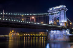 The night view of the Parlament building and the Danube under th Stock Image