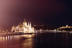 Night view of Parliament in Budapest, Hungary, Europe stock photos