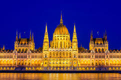 Night view on the Parliament Building in Budapest Royalty Free Stock Photography