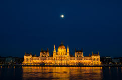Night view on the Parliament Building in Budapest Stock Photos