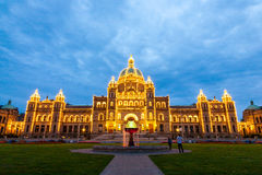 Night view of Parliament building in Victoria BC Stock Image