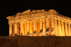 Night view of parthenon royalty free stock photography