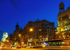 Night view of Passeig de Gracia in  Barcelona Stock Photography