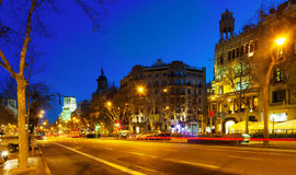 Night view of Passeig de Gracia in  Barcelona, Catalonia Stock Photos