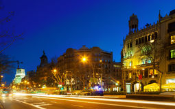 Night view of Passeig de Gracia in  Barcelona Royalty Free Stock Photography