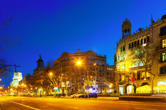 Night view of Passeig de Gracia in winter Royalty Free Stock Photo