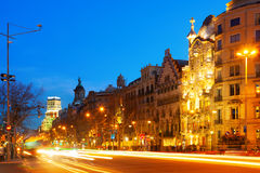 Night view of Passeig de Gracia in winter. Barcelona, Spain Stock Images