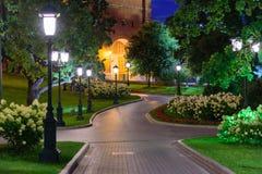Night view of a path in Alexandrovsky Garden. Near the Kremlin in Moscow stock photos