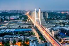 Night View of the Peace Bridge in Xuzhou, Jiangsu Province, China royalty free stock photo