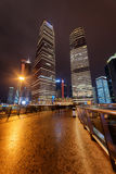 Night view of pedestrian side of Century Avenue in Shanghai Stock Photos